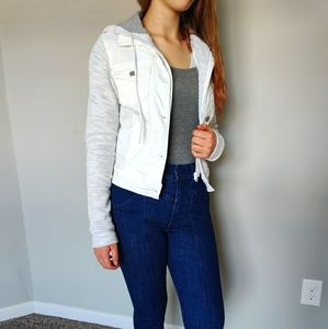 White jean sweatshirt/jacket
